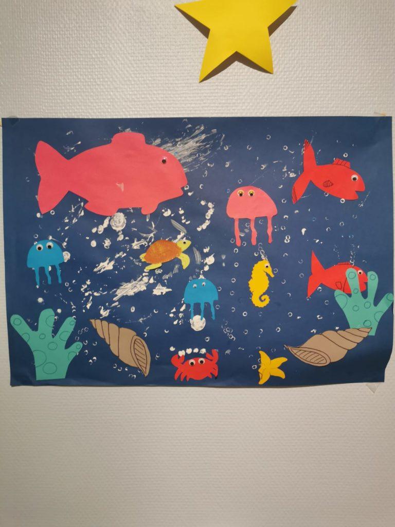 Dessin avec des animaux aquatiques